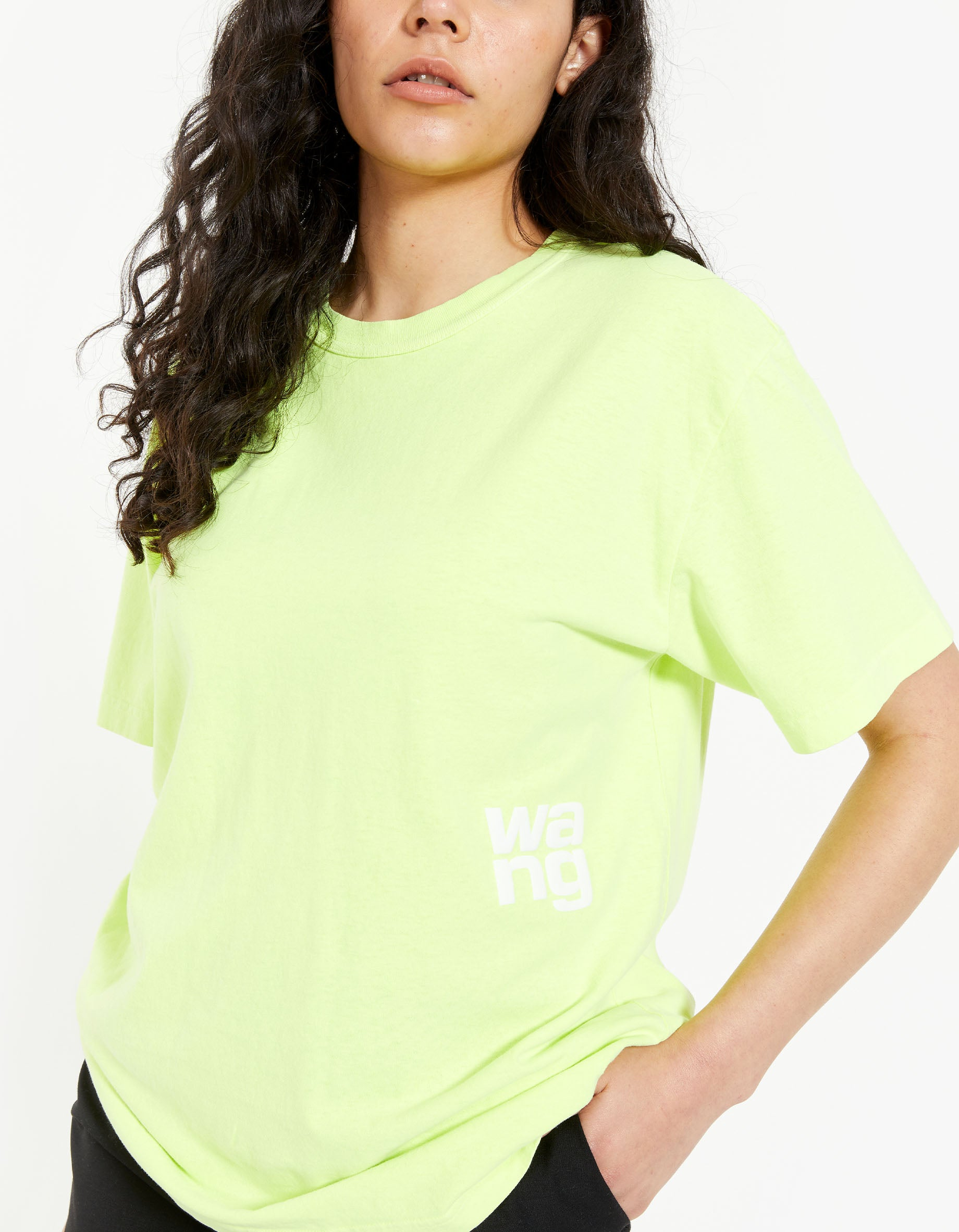 Structured Jersey SS Tee With Puff Paint Logo - Neon Celandine
