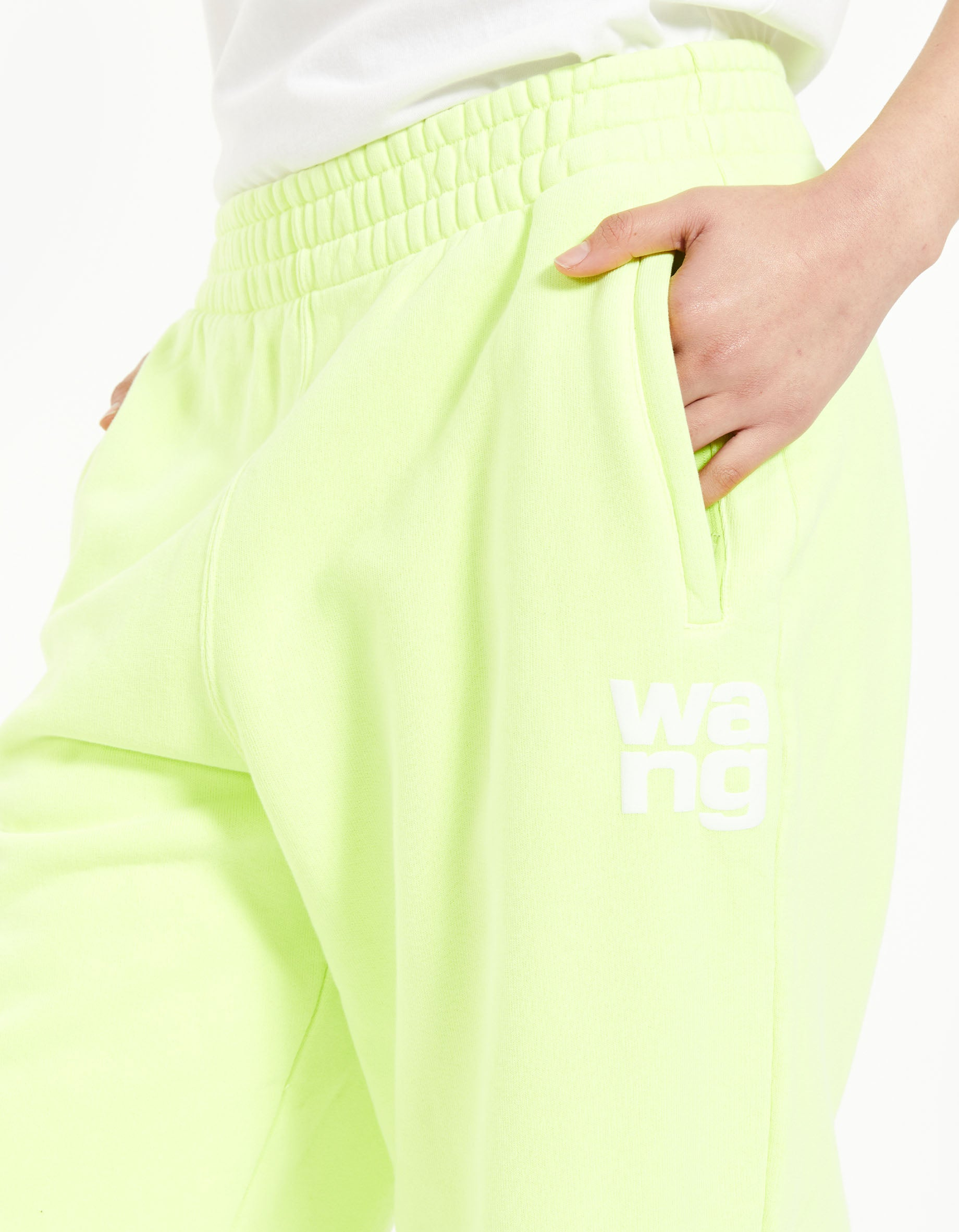 Structured Terry Classic Sweatpant With Puff Paint - Neon Celandine