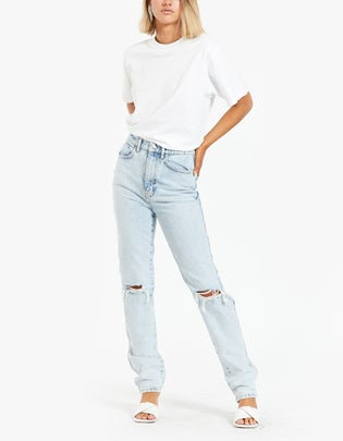 High Waist Jean With Dipped Back