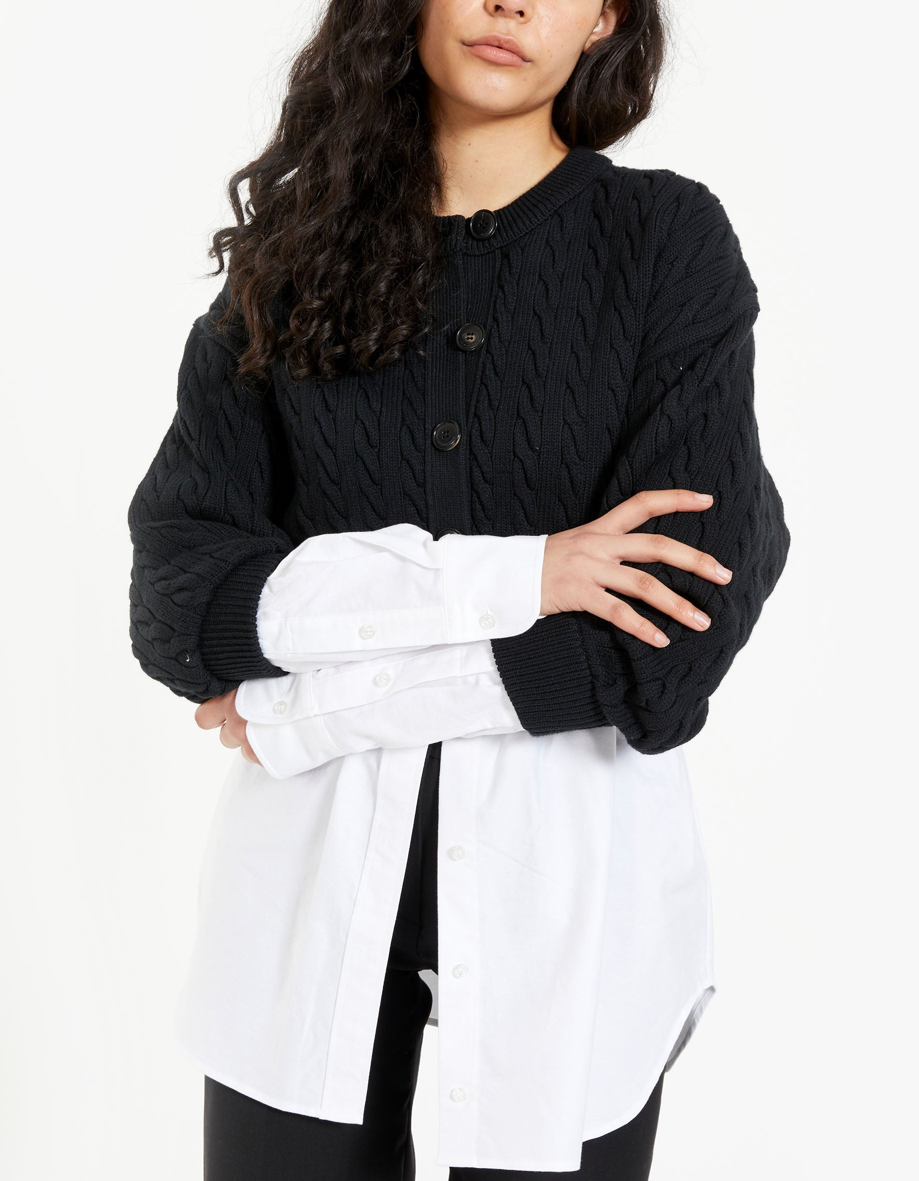 Bi-Layer Cable Cardigan With Oxford Shirting - Black/White