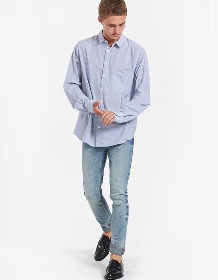 Mens Stripe Cotton Shirt - Light Blue