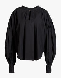 Womens Cotton Gathered Oversized Shirt - Black