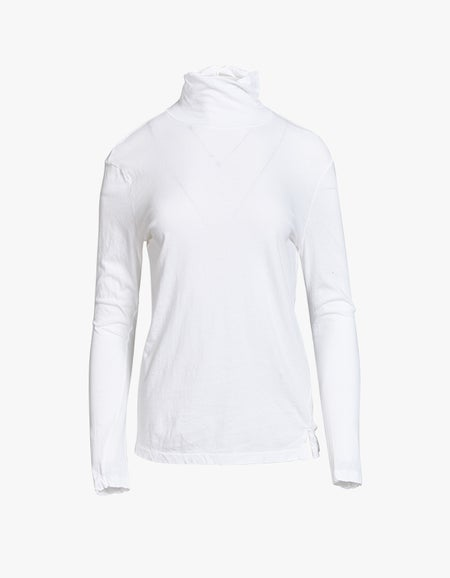 Fitted Funnel Neck L/S T-Shirt - White