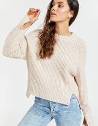 Womens Chunky Cropped Crew Neck Knit - Pale Pink