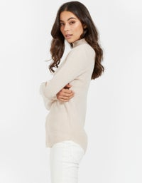 Womens Roll Neck Layering Knit - Pale Pink