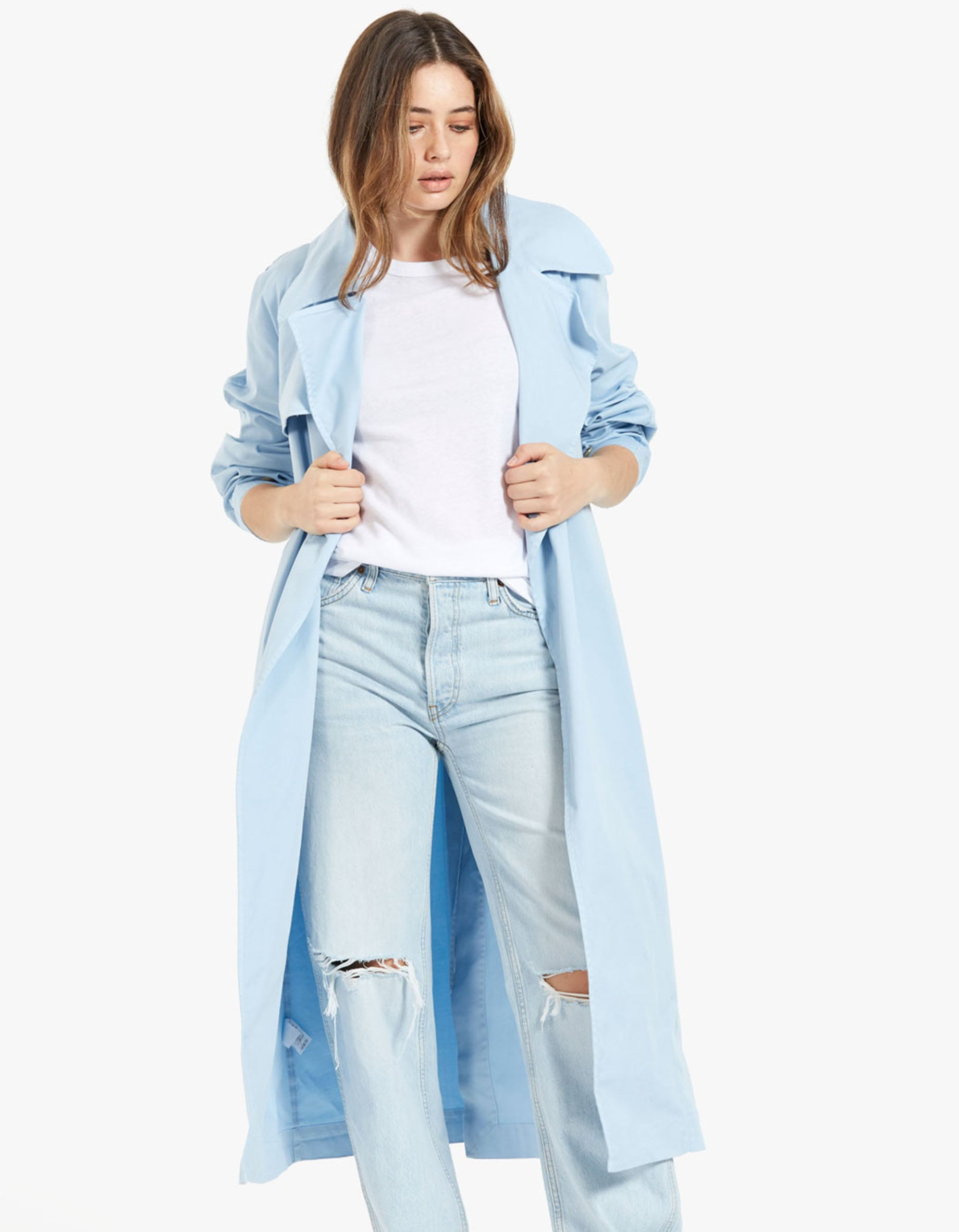 Womens Brushed Cotton Oversized Trench - Faded Denim