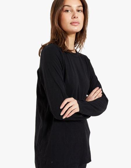 Womens Wide Heritage French Seam L/S T-Shirt - Black