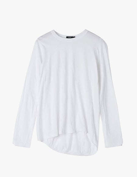 Womens Wide Heritage French Seam L/S T-Shirt - White