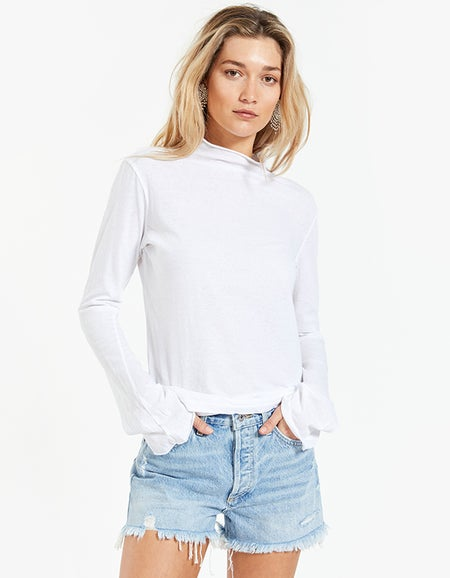 Womens Raised Neck Slim L/S T-Shirt - White