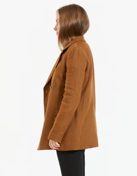 Womens Linen Double Breasted Jacket - Cognac