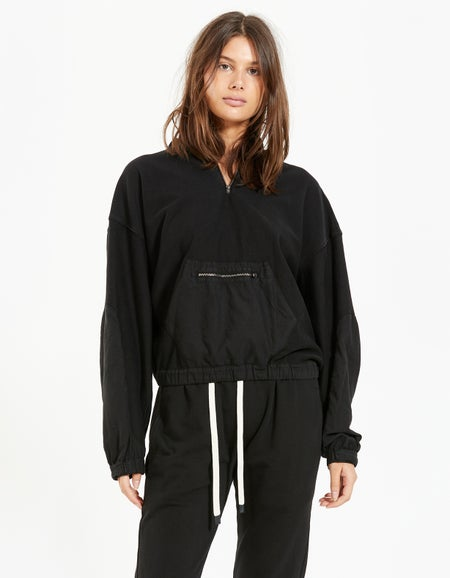 Womens Athletic Detail Popover Sweat - Washed Black