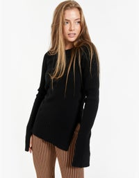 Womens Rib Fitted Crew Neck Knit - Black
