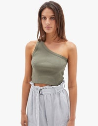 Womens Cropped Rib One Shoulder Top - Imperial Army
