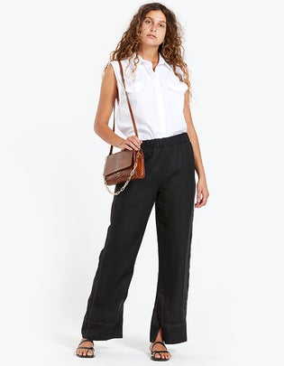 Womens Linen Slouch Pull On Pants