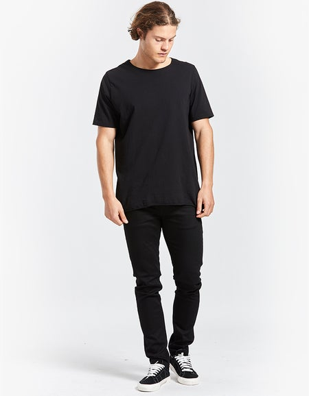 Mens Original Neck T Shirt With Tail - Black