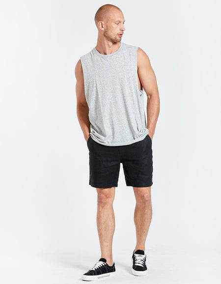 Mens Coverstitch Detail Tank - Grey Marle