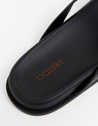 Womens Knotted Leather Slip On - Black