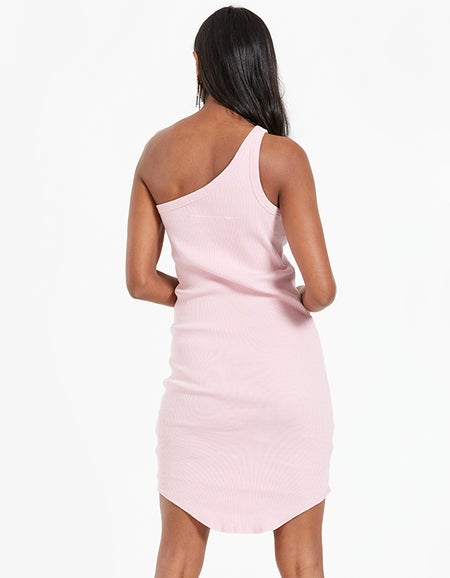 Bassike x Superette Womens Slim One Shoulder Tank Dress - Pigment Pink