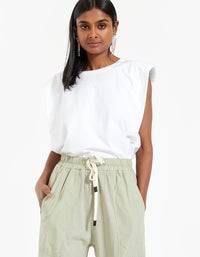 Womens Double Jersey Contrast Tapered Pant - Segative Sage