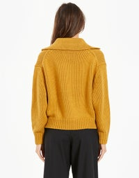 Womens Oversized Polo Neck Knit - Mustard Seed