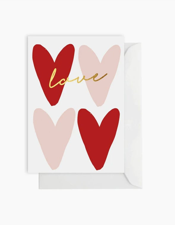 Love You Hearts Card - White
