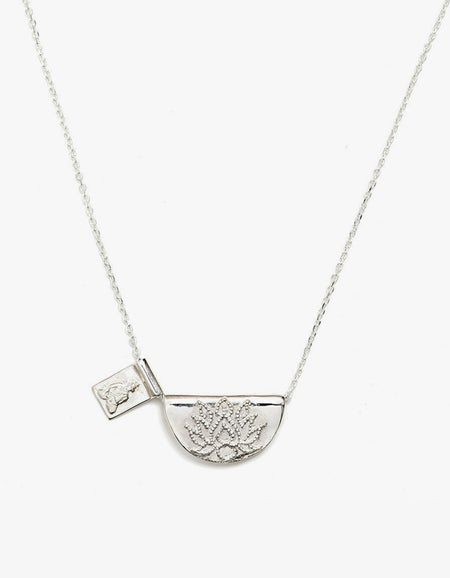 Lotus and Little Buddha Long Necklace - Silver