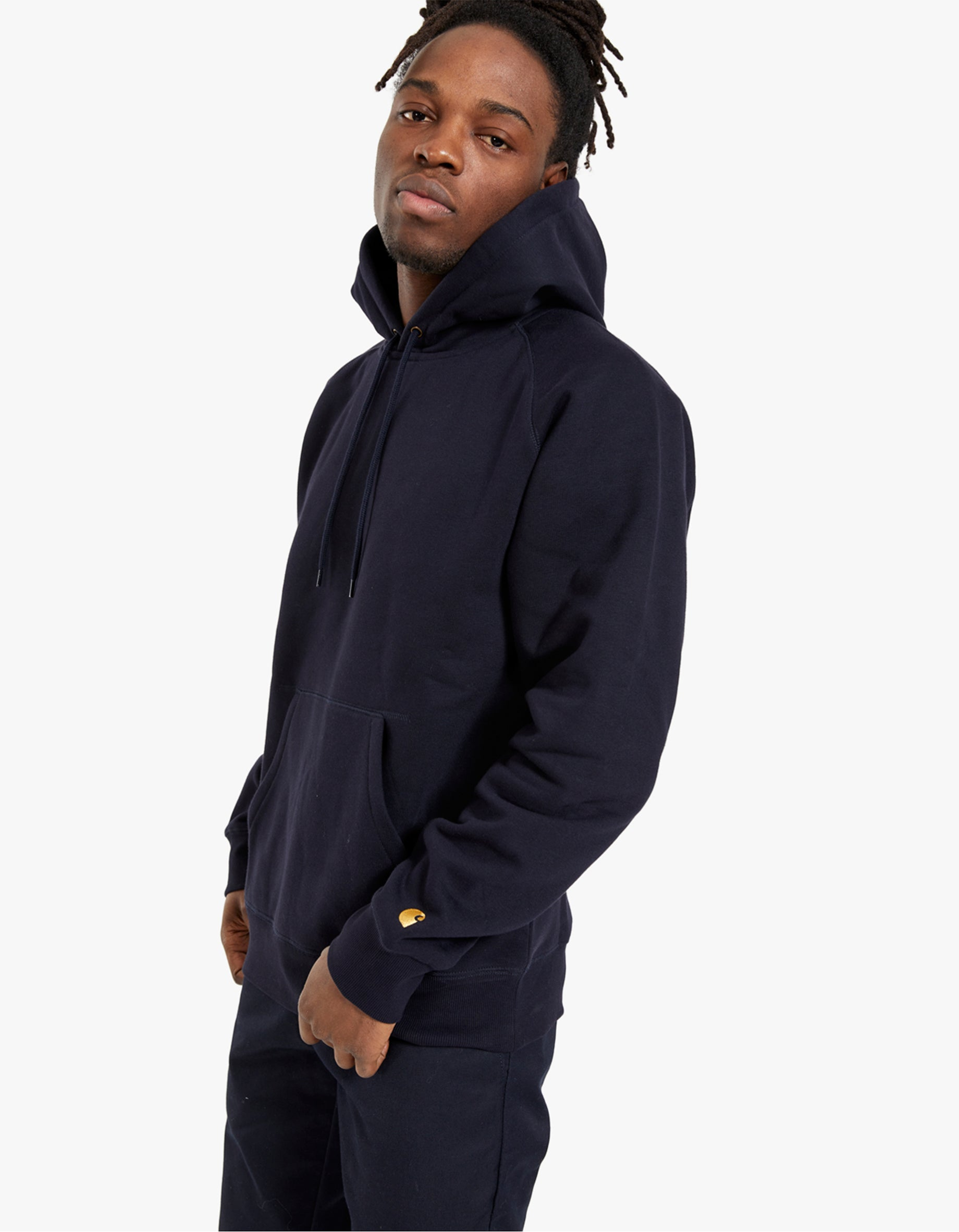 Hooded Chase Sweat - Dark Navy/Gold