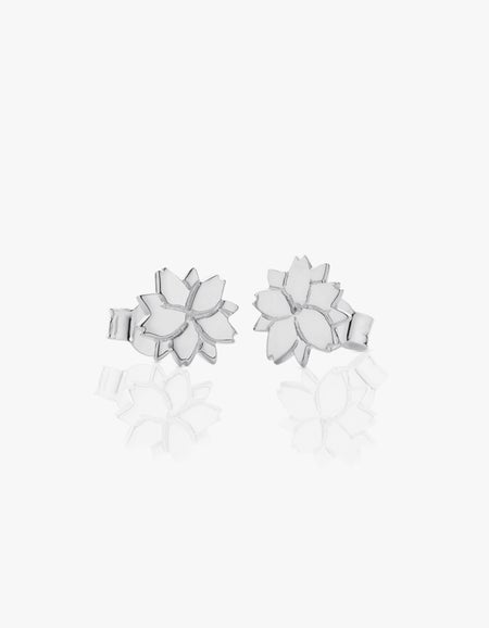 Cherry Blossom Studs Earrings - Silver