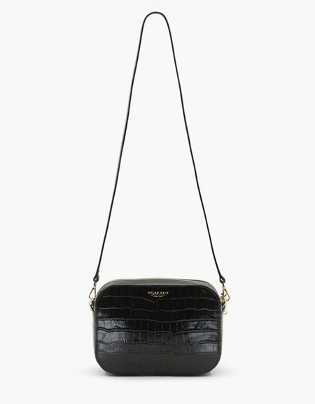 The Mini Rodriguez Croc Bag - Light Gold/Black