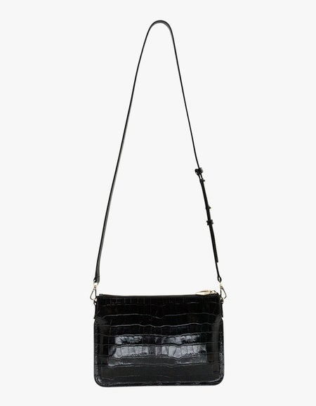 The Margot Croc Bag - Light Gold/Black
