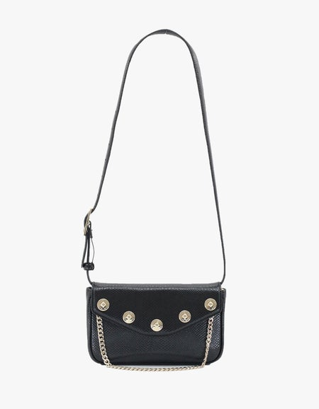 The Ruby Convertible Bag - Black/Light Gold