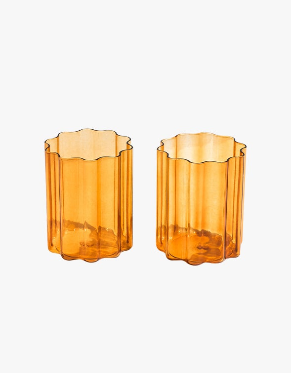 Wave Glass Set of 2 - Amber