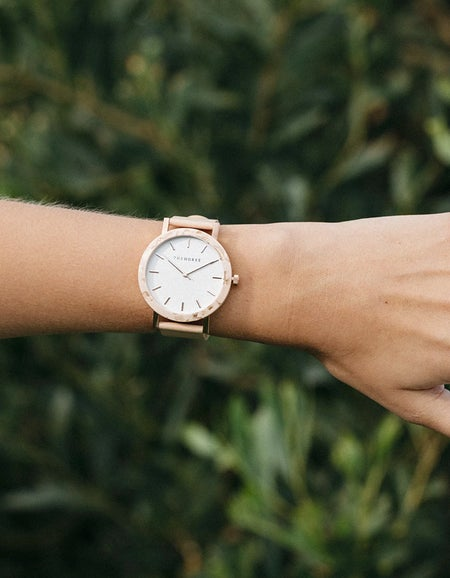 The Resin Watch - Rose Gold/White Dial/Peach Leather Band