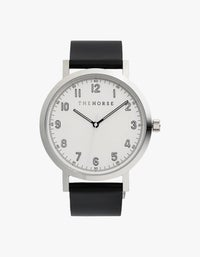 The Original 2.0 Watch - Polished Silver/Off-White Dial/Black Leather