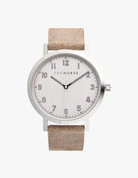 The Original 2.0 Watch - Polished Silver/Off-White Dial/Bone Suede