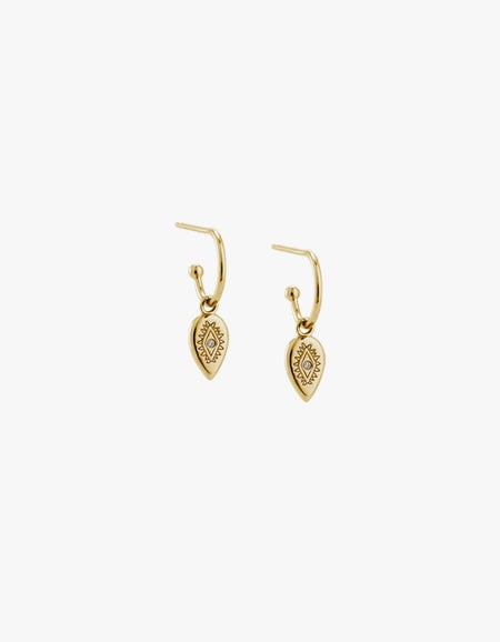 Etched Teardrop Hoops - 18K Gold Plated