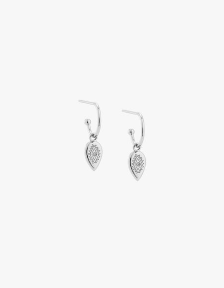 Etched Teardrop Hoops - Sterling Silver
