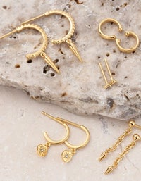 Spike Detail Hoops - Gold Plated
