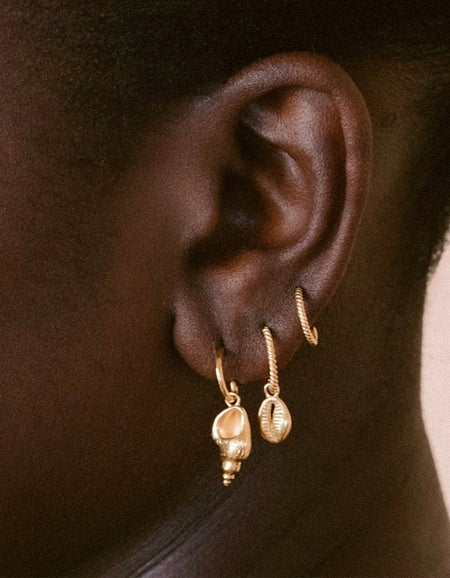 Conch Shell Hoops - Gold Plated