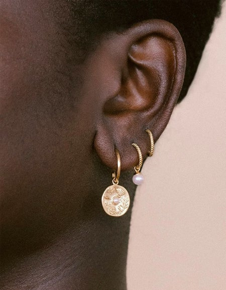 Tiny Pearl Hoops - Gold Plated