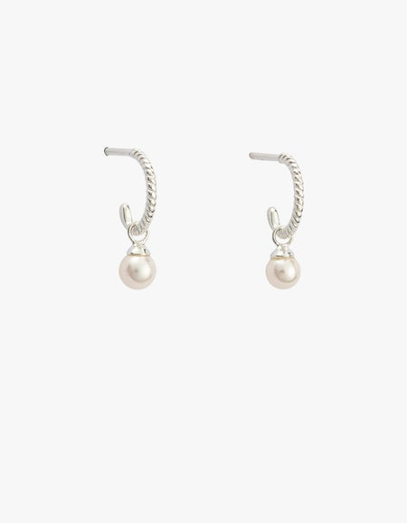 Tiny Pearl Hoops - Sterling Silver