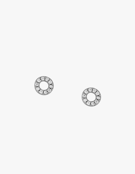 Circle Outline Crystal Studs - Sterling Silver