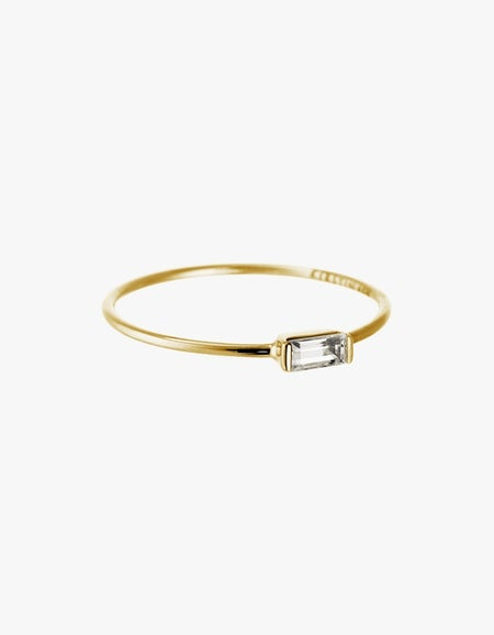 Baguette Ring - White Topaz/Gold