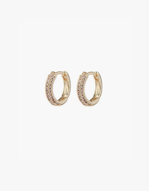 Pave Dome Huggies - Gold Plated