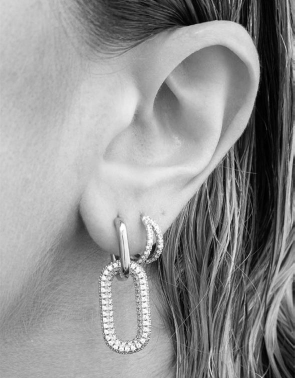 Pave Simone Loop Hoops - Silver Plated
