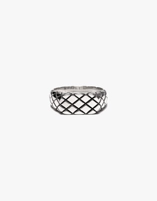 Slim Quilted Signet Ring