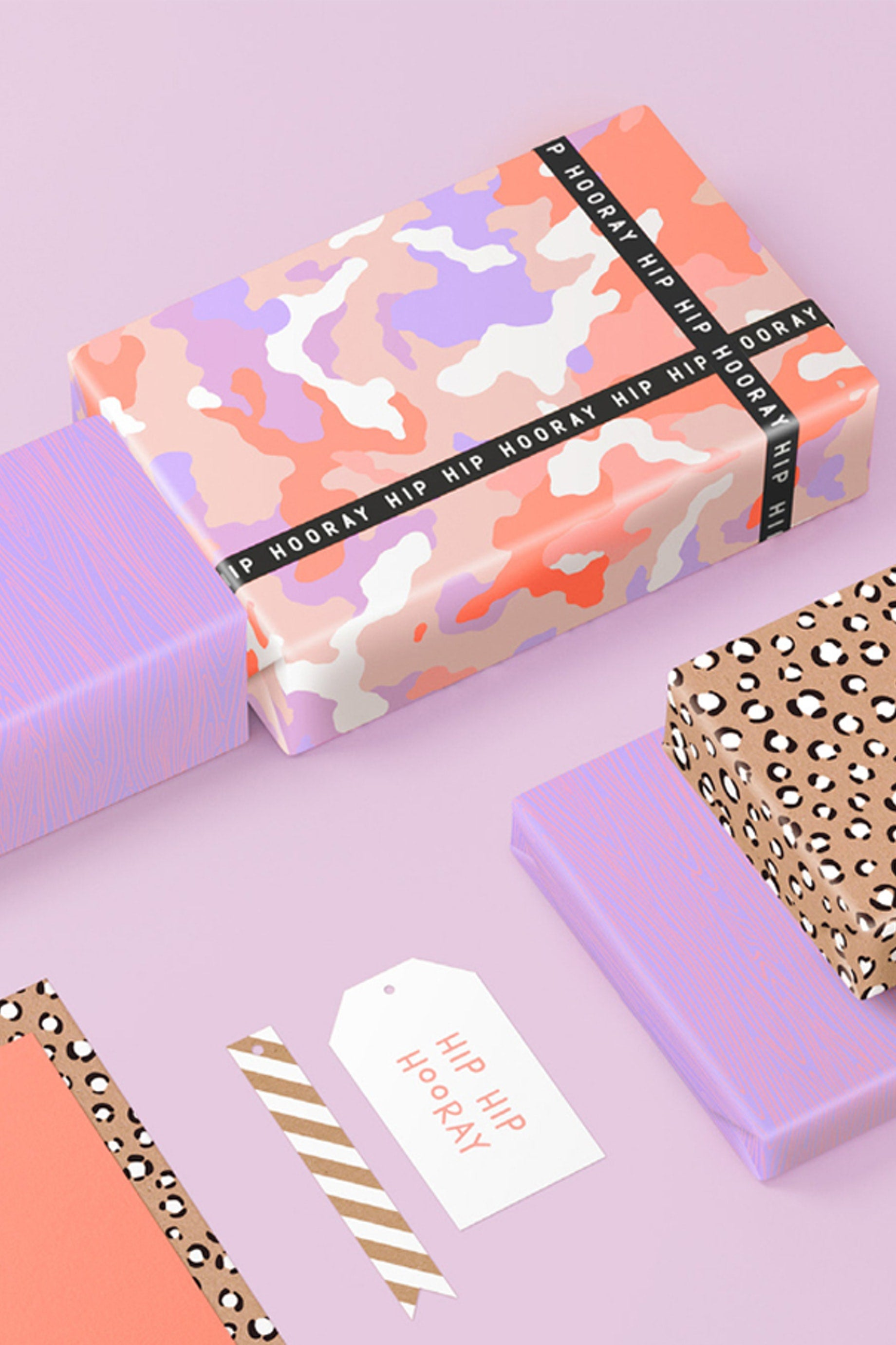 Camoflage Wrapping Paper - Half Fluro/Mauve/Pink