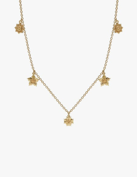 Maiden 5 Charm Necklace - Gold Plated