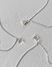 Mini Letter Charm Necklace - Sterling Silver