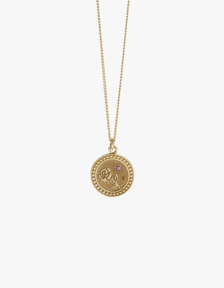 Amulet Love Necklace - Gold Plated/Pink Sapphire